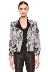 3.1 Phillip Lim Floral Relief Print Corded Motorcycle Jacket in Gray Floral - Lyst