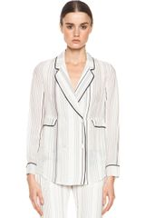 3.1 Phillip Lim Piping Pajama Jacket in Whitestripes - Lyst