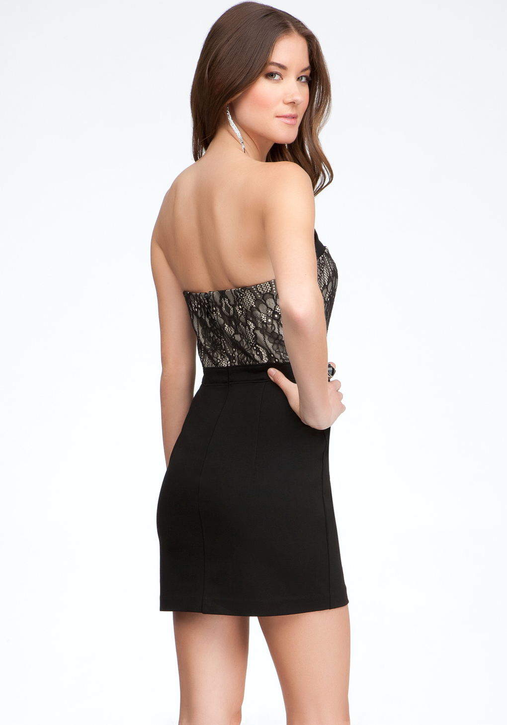Lyst Bebe Strapless Bustier Dress In Black