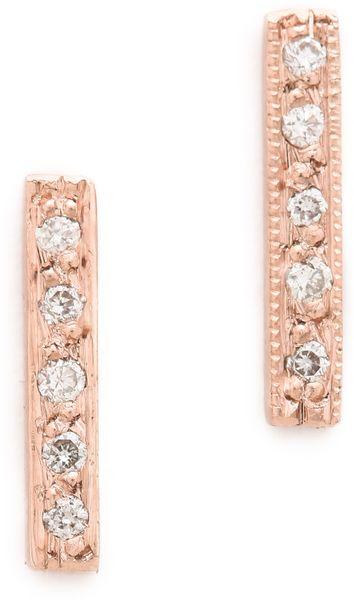 Diamond Curved Bar Earrings