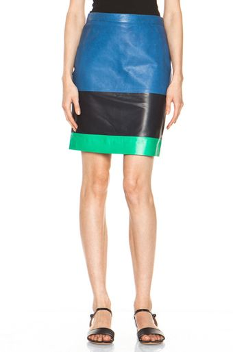 Boy by Band Of Outsiders Leather Skirt in Stripesblue - Lyst