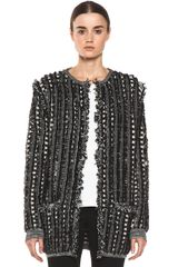 Long Fringed Cardigan in Blackstripes