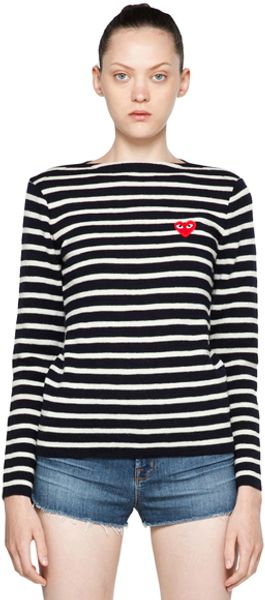 Comme Des Garçons Red Emblem Stripe Sweater in Stripes - Lyst
