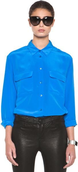 Equipment Signature Blouse in Blue - Lyst