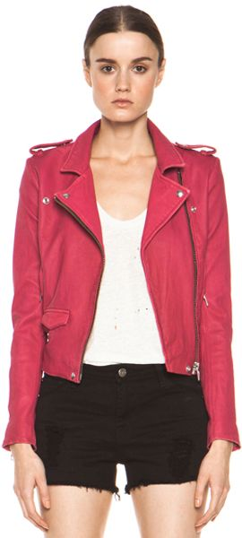 Iro Ashville Leather Moto Jacket in Pink - Lyst