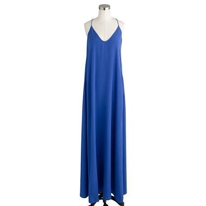 j.crew collection silk maxi dress in blue | lyst