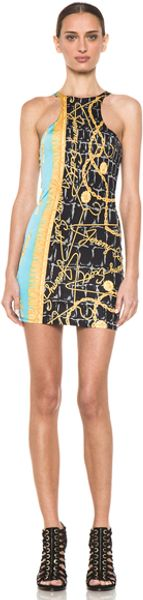 Jeremy Scott Racer Front Dress in Yellowblueabstract - Lyst