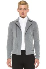 Jil Sander Knit Jacket in Gray - Lyst