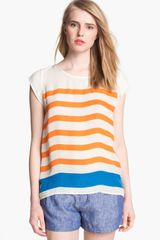 Joie Terry Stripe Silk Top - Lyst