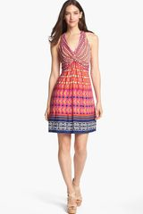 Laundry By Shelli Segal Front Knot Print Jersey Dress - Lyst
