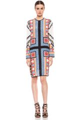 MSGM Long Sleeve Tee Dress in Abstract blue orange-white - Lyst