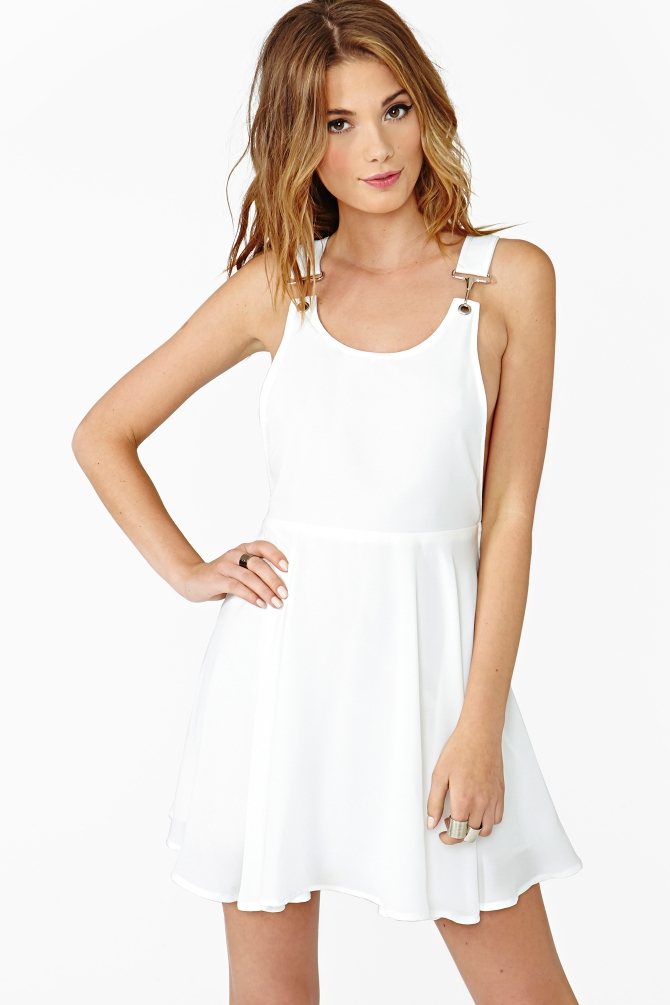 Nasty Gal Veruca Suspender Dress In White Ivory Lyst