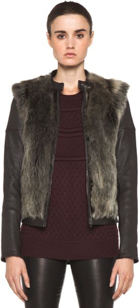 Neil Barrett Fur Biker Coat in Brown - Lyst