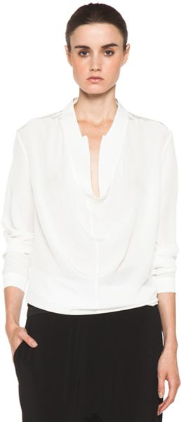 Neil Barrett Rever Blouse in White - Lyst