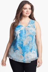 Nic + Zoe Tropical Flower Sleeveless Blouse  - Lyst