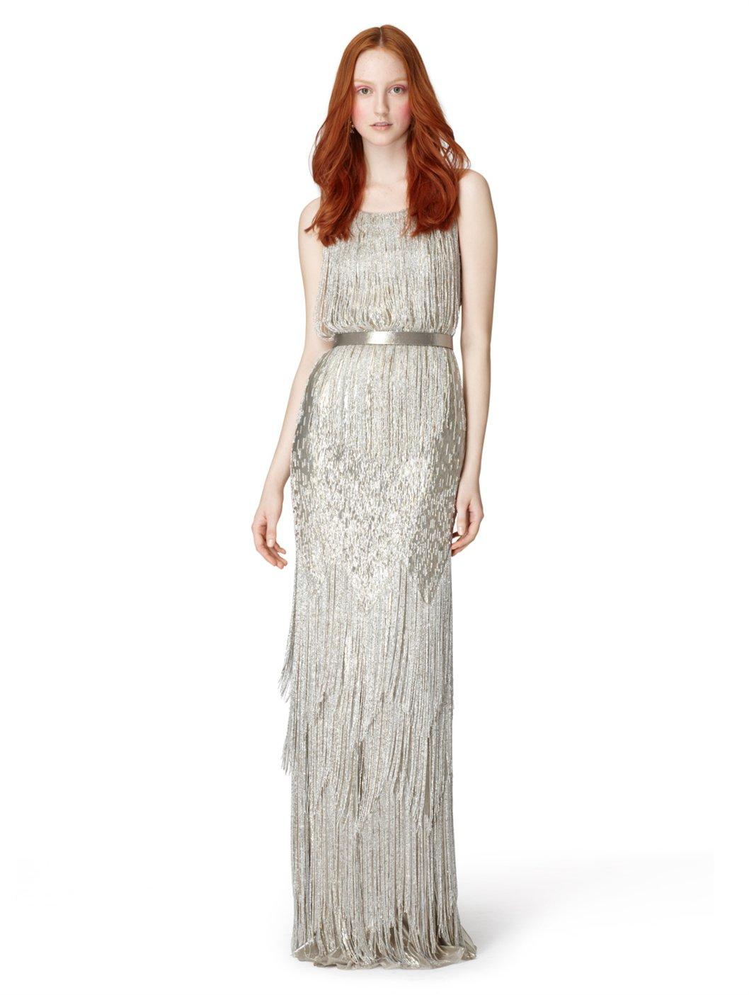 fringed sequined gown - Metallic Oscar De La Renta HtkKfQXH