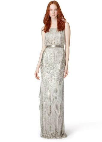 Oscar de la Renta Sleeveless Slim Bead Embroidery Gown with Fringe - Lyst