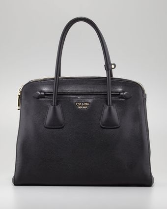 Prada Saffiano Doublezip Medium Shoulder Bag - Lyst