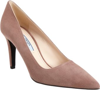 Prada Suede Pointed Toe Pump - Lyst