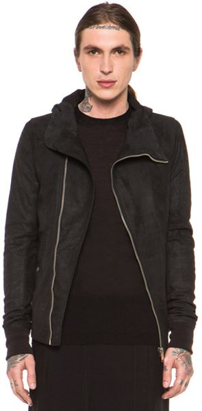 Rick Owens Bullet Hooded Leather Jacket in Black - Lyst