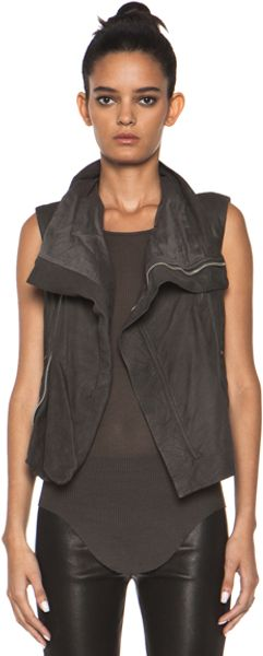 Rick Owens Leather Biker Combo Vest in Earth Tones - Lyst