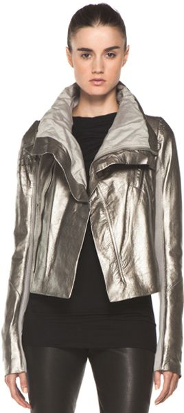 Rick Owens Classic Biker Jacket in Gray Metallic - Lyst