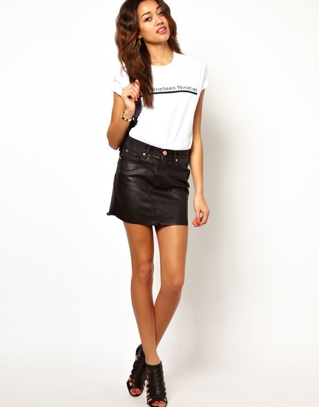river island leather look front mini skirt in black lyst