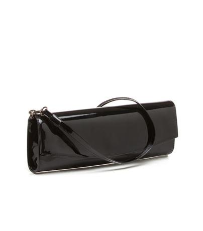 Stuart Weitzman Glossy leather clutch in Black (black ...
