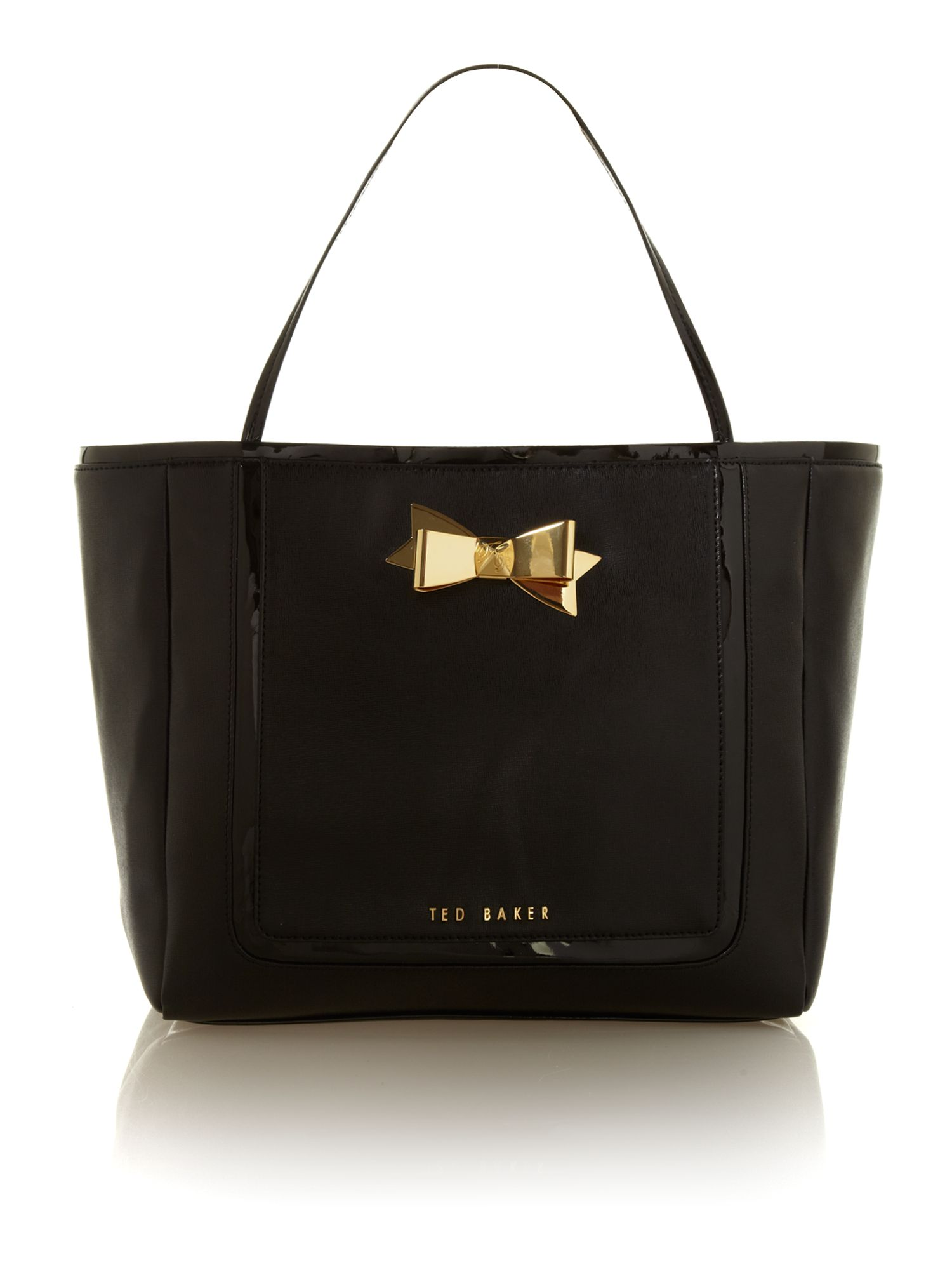ted baker saffiano bow large tote in black lyst