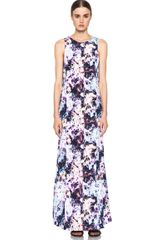 Theyskens' Theory Dlilac Ilight Maxi Dress in Purplewhiteabstract - Lyst