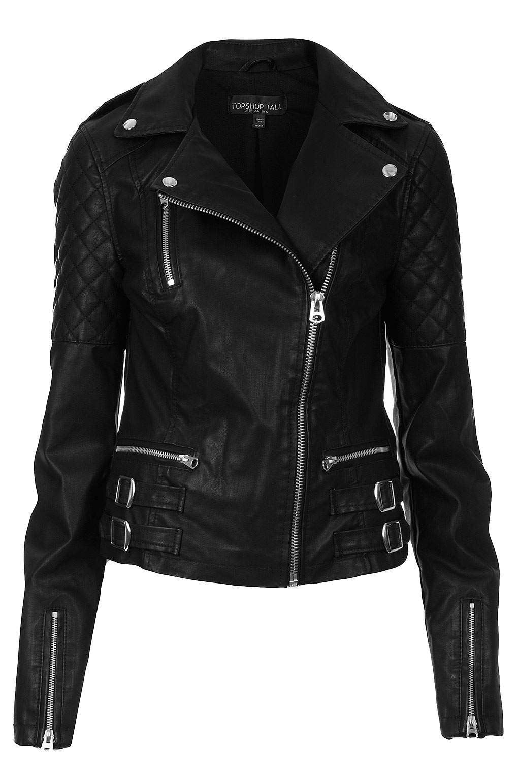 Topshop Tall Biker Jacket in Black