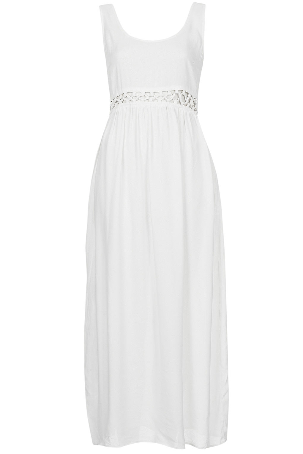 Lyst Topshop Petite Lace Waist Maxi Dress In White