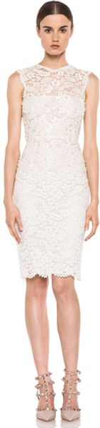 Valentino Rebrode Lace Sleeveless Embroidered Dress in White - Lyst