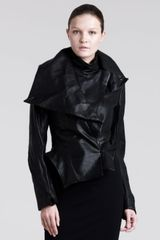 Ann Demeulemeester Asymmetric Leather Peplum Jacket - Lyst