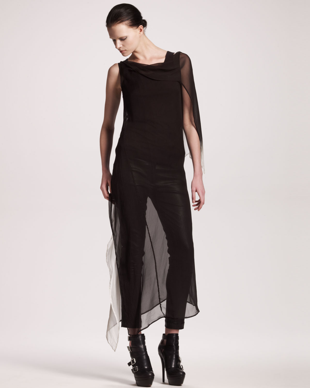 Lyst Ann Demeulemeester Long Degrade Dress In Black