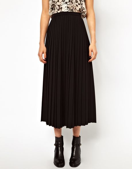 asos pleated midi skirt in black lyst