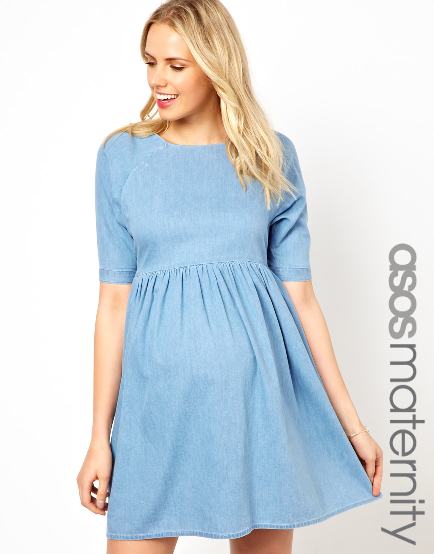 b488f1d9a98f5 Fred Perry Asos Maternity Smock Dress in Denim in Blue - Lyst