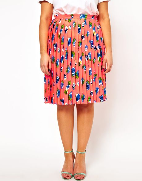 Asos Curve Midi Skirt in Pleated Floral Print in Pink ...