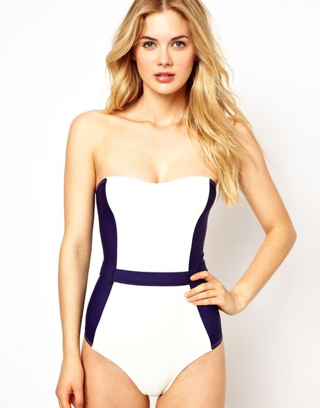 Asos Contrast Panel Belted Bandeau Swimsuit in White (Navycream)