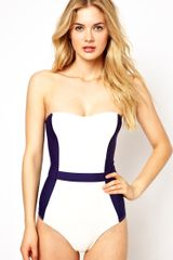 Asos Contrast Panel Belted Bandeau Swimsuit in White (Navycream) - Lyst