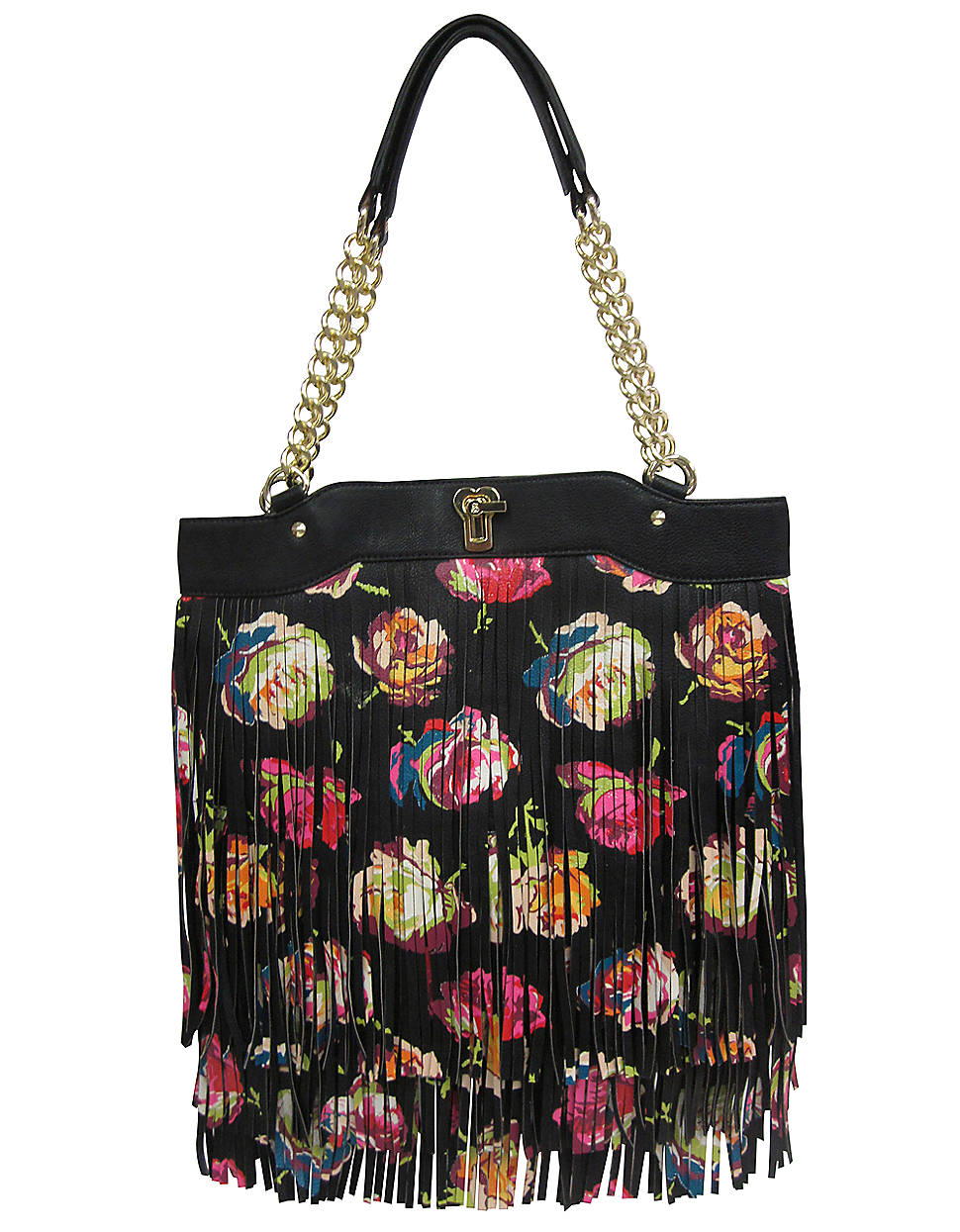 Betsey Johnson Fringy Floral Tote Bag In Black | Lyst