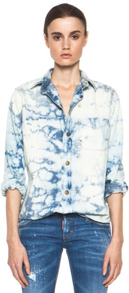 Current/Elliott The Prep School Shirt in Blue Ombre Tie Dye - Lyst