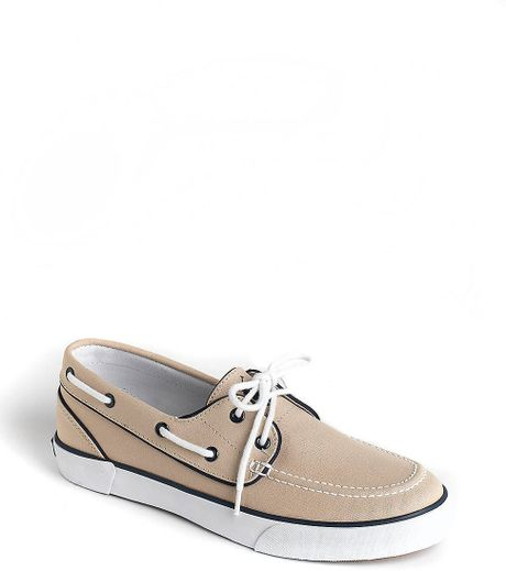 polo ralph lander canvas boat shoes in khaki for