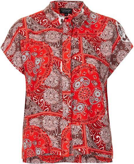 topshop bandana print shirt in lyst