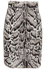 Christopher Kane Animal Print Goat and Leather Skirt - Lyst