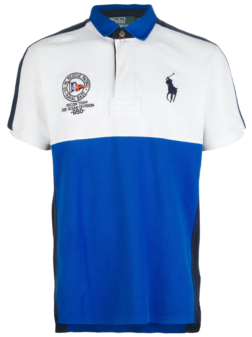 polo ralph lauren colour block polo shirt in white for men. Black Bedroom Furniture Sets. Home Design Ideas