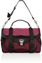 Proenza Schouler Ps1 Medium Leathertrimmed Tweed Satchel - Lyst