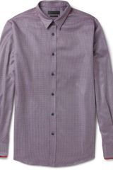 Alexander McQueen Double Collar Patterned Woven Cotton Shirt - Lyst