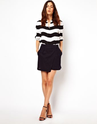 Asos Linen Mini Skirt with Wrap Detail - Lyst