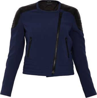 Rag & Bone Bicolour Fabric Biker Jacket - Lyst
